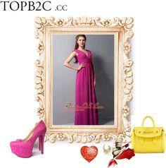"""Perfect Fuchsia Chiffon V-neck Bridesmaid Dress"" by forthebridesmaidandmother ❤ liked on Polyvore"