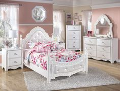 6 Piece includes headboard, footboard, rails, dresser mirror and night stand Color: White Material: Wood Condition: New. Measurements: Twin Manufacturer SKU: B188 ***Delivery Available*** ***Financing