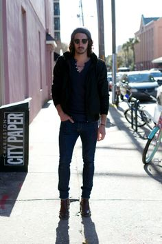 Skinny jeans, boots, beanies, club masters and tatoos. Mens street style in Charleston SC.   www.angelspov.com