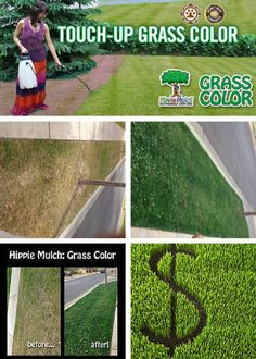 Best water reduction technique: Tired of dead or brown lawn spots? Look no further!  Perfect for droughts, spots made from pets and water restrictions :).  http://www.hippiemulch.com/grass-color-1/