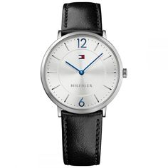 Tommy Hilfiger Slim Silver Watch With Black Leather Strap - Os Mens Sport Watches, Watches For Men, Men's Watches, Watch Cufflinks, Tommy Hilfiger Shoes, Slim Man, Jewelry Watches, Men's Jewelry, Black Leather