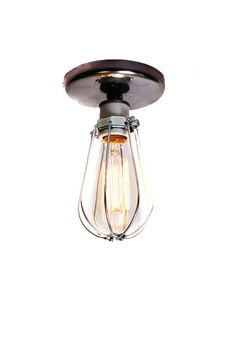 Industrial Bare Bulb Caged Light Ceiling Flush Mount / Wall Sconce via Etsy    $69