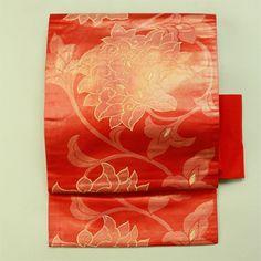 Orange, nagoya obi / 赤色 朱色 花唐草柄 名古屋帯