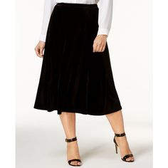 Ny Collection Plus Size Velvet Midi Skirt ($25) ❤ liked on Polyvore featuring plus size women's fashion, plus size clothing, plus size skirts, black, calf length skirts, velvet skirt, womens plus size skirts, midi skirt and mid-calf skirt