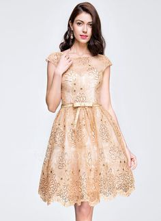[US$ 139.99] A-Line/Princess Scoop Neck Knee-Length Lace Prom Dress With Sequins Bow(s) (018081670)