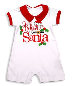 Another great find on #zulily! White & Red 'I Believe In Santa' Romper - Infant #zulilyfinds