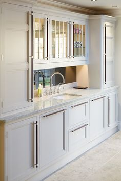 Casalese white granite worktops, accompanied by cabinets painted in Farrow and Ball Pavilion Grey Pavilion Grey, Granite Worktops, White Granite, Work Tops, Painting Cabinets, Chrome, Kitchen Cabinets, Kitchens, House