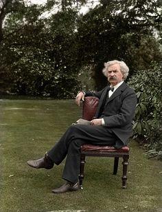 Mark Twain   año   1.900     fotos en blanco y negro coloreadas