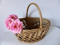 Vintage French Willow Market Basket by LaVannerie on Etsy