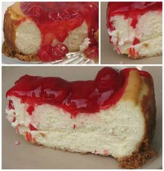 This creamy cherry cheesecake recipe is made from scratch and topped with delicious cherry pie filling. Cherry cheesecake lovers will love this recipe!