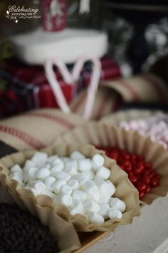 mini marshmallows in natural coffee filter holder for Front Porch Hot Cocoa Bar, Hot Chocolate Bar, Winter Party Idea, Christmas Party Idea