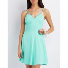 Charlotte Russe Strappy V-Neck Skater Dress ($29) ❤ liked on Polyvore featuring dresses, bay, flared dress, charlotte russe, v neck skater dress, zipper dress and zipper back dress