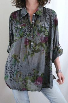 Soft Surroundings 100% Cotton Button Down Floral Tunic Washed Gray Sz 3X #SoftSurroundings #Tunic