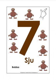 Sifferkort 1-12 med Babblarna och tecken British Sign Language, Pre School, Special Education, Signs, Diy For Kids, Kindergarten, Symbols, Letters, Graffiti