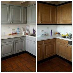 Onze 20 jaar oude blauwgrijze keuken bleek na een week schuren en beitsen best nog een knapperd te kunnen zijn.