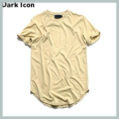 d435c914718ba4 Curved Hem Hip Hop Tshirt Men 2017Summer Blank Extended Mens T-shirts Urban  Kpop Men
