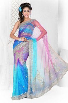 Gorgeous rainbow saree.