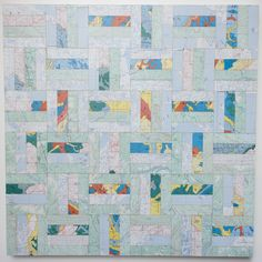 """24"""" X 24"""" X 1½"""" Rectangle Tesselation Map Collage on wood panel"""