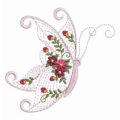 Rippled Flower Butterfly Machine Embroidery Design Instant Download 4x4 hoop