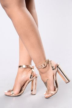 Available in Rose Gold and Silver Single Sole Heel Adjustable Buckle Metallic Round Heel Patent Leather Upper, Man Made Sole 4 Inch Heel