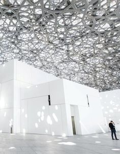 The use of light and geometry in the design of The Louvre, Abu Dhabi Museum Architecture, Architecture Details, Porch Roof, Carlo Scarpa, Steel Structure, Abu Dhabi, Canopy, Geometry, Pergola