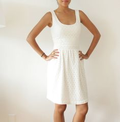 White Eyelet Lace Dress with EcoFriendly Modal Jersey Lining, Open Back Womens Summer Sundress - TRACY