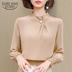 long sleeve office blouse women clothes chiffon blouse women shirts blusas mujer de moda 2018 womens tops and blouses 1391 45 Sleeves Designs For Dresses, Dress Neck Designs, Blouse Designs, Office Blouse, Classic Style Women, Blouse Styles, Blouses For Women, Ladies Blouses, Designer Dresses