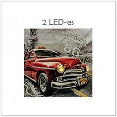 Ledes, világító, pislákoló, retró autós falikép