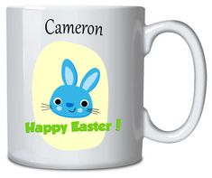 Personalised Mug Easter Bunny Blue Happy Easter, Easter Bunny, Sublimation Mugs, Vibrant Colors, Colours, Personalized Mugs, Everyday Objects, Presents, How To Make