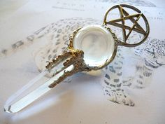 Wiccan Ceremonial crystal power wand by TheLeopardsLair on Etsy/// travel size for your convenience?