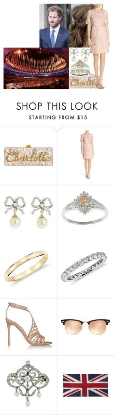 """""""Attending the opening ceremony of the Rio 2016 Olympic Games"""" by charlottedebora ❤ liked on Polyvore featuring Needle & Thread, Blue Nile, Gianvito Rossi, Ray-Ban and Jayson Home"""