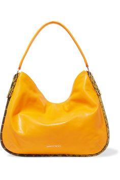 JIMMY CHOO Zoe Elaphe-Trimmed Leather Shoulder Bag. #jimmychoo #bags #shoulder…