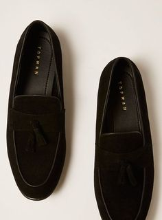 83f8cfd6fa2 Black Faux Suede Prince Tassel Loafers. Topman