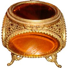 Ornate Gold Plated Ormolu French Style Jewelry Casket Cabriole Legs Amber Beveled Glass on 5 Sides