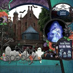 WDW or Disneyland Haunted Mansion 1 page layout 4 pictures I love the colours on this layout. The title is wonderful