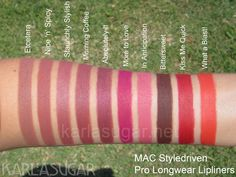 MAC, Styledriven, Pro Longwear Lipliner, swatches, Nice 'n' Spicy, Bittersweet, Absolutely It, Morning Coffee, What a Blast!, Etcetera, Kiss Me Quick, Staunchly Stylish, More to Love, In Anticipation, KarlaSugar, Karla Sugar