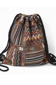 Ibiza Boho Chic Backpack with Tribal Ethnic Designs Rucksack Bag, Backpack Bags, Drawstring Backpack, Tote Bag, Messenger Bags, Boho Chic, Boho Style, Ibiza Style, Tribal Style