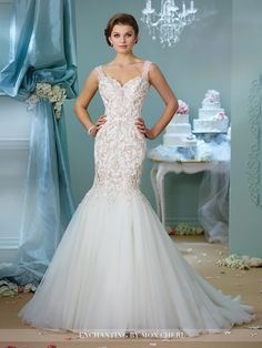 Enchanting - Sleeveless tulle and embroidered lace trumpet gown with hand-beaded sweetheart neckline, dropped waistline, deep plunging V-back, gathered skirt, chapel length train. Final Sale