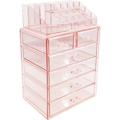 Sorbus Acrylic Cosmetic Makeup and Jewelry Storage Case Display - Spacious Design - Great for Bathroom, Dresser, Vanity and Countertop Large, 2 Small Drawers, Pink) Makeup Jewellery Storage, Makeup Storage Case, Makeup Storage Organization, Jewelry Storage, Stationary Organization, Makeup Drawer, Cosmetic Storage, Jewelry Case, Glass Jewelry