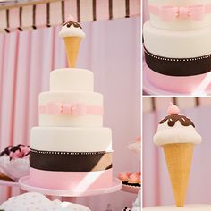 Pink Retro Ice Cream Themed Birthday Party - On to Baby