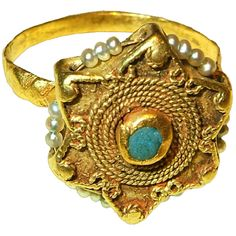Fatimid Ring; Turquoise, gold, and seed pearls; Southern Spain  9th-11th century