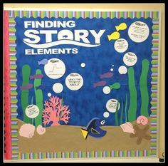 Finding Story Elements Bulletin Board Back to School Finding Dory  or Finding Nemo Style bulletin board English Language Arts