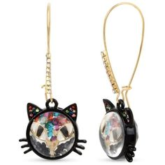 Betsey Johnson Multi Gold-Tone Shaky Bead Long Drop Cat Earring ($45) ❤ liked on Polyvore featuring jewelry, earrings, multi, gold tone jewelry, betsey johnson jewelry, earring jewelry, beading earrings and long wire earrings