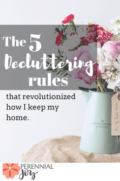 These 5 rules have done wonders with keeping my house decluttered and organized! And then I made money by selling off all my extras. Perennialjoy.com
