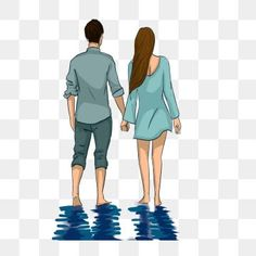 hand in hand,look at the scenery,couple,back view,in the water,reflection,element,cartoon couple,water clipart,hands clipart,couple clipart,landscape clipart,reflection clipart,back clipart Hand Holding, Couple Holding Hands, Couple Illustration, Hand Illustration, Landscape Clipart, Old Man Walking, Couple Clipart, Folded Arms, Hand Doodles