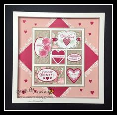 All My Love Stamp Set, Meant to Be Stamp Set, Lovely Flowers Thinlits, Be Mine Framellits, All My Love Designer Paper Collage Frames, Paper Frames, Box Frames, Mary Fish, Scrapbook Supplies, Scrapbook Pages, Bazaar Ideas, Coffee Crafts, Valentine Stuff