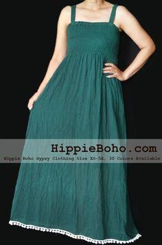 8bf1fded97e81 Pom Pom - Size Hippie Boho Clothing Gypsy Forest Green Plus Size Strap  Summer Maxi Dress