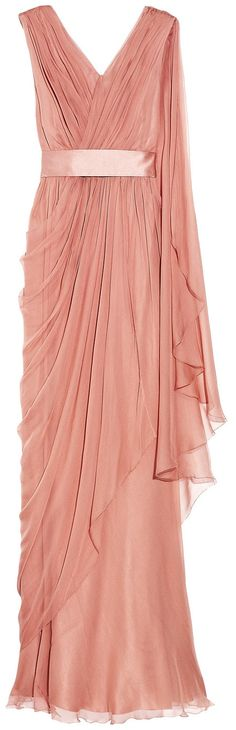 ALBERTA FERRETTI  Draped silk-chiffon gown    Details & Fit  Alberta Ferretti rose gown  Silk-chiffon  Satin sash at waist,wrap-effect bodice, ruched draping throughout, sheer draped detail from one shoulder, asymmetric overlay at skirt, fully lined  Concealed side zip fastening