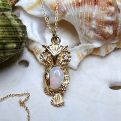 """14k Opal and Diamond Wise Owl Pendant Necklace w 14k Chain 18"""" - pinned by pin4etsy.com"""