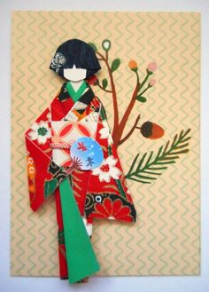 ATC1273 - Haruno | ATC with handmade Japanese paper doll.